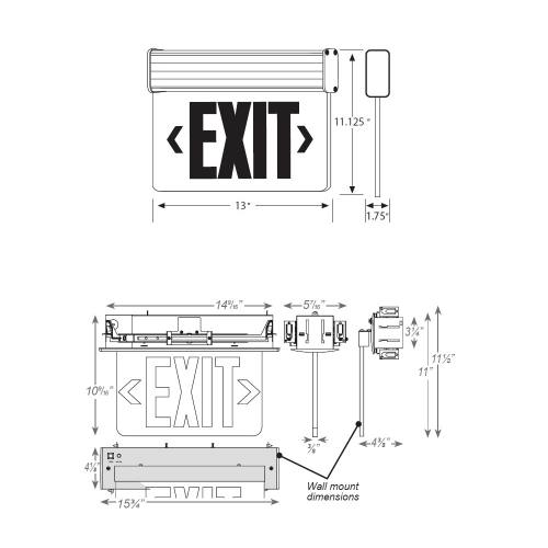 universal edge-lit exit sign