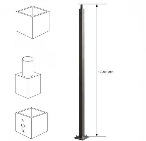 4 Inch & 5 Inch Straight Square Steel Poles