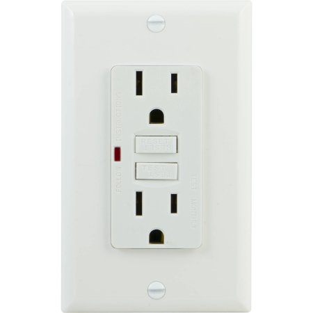 15 AMP Self-Testing GFCI - White - Wallplate Included