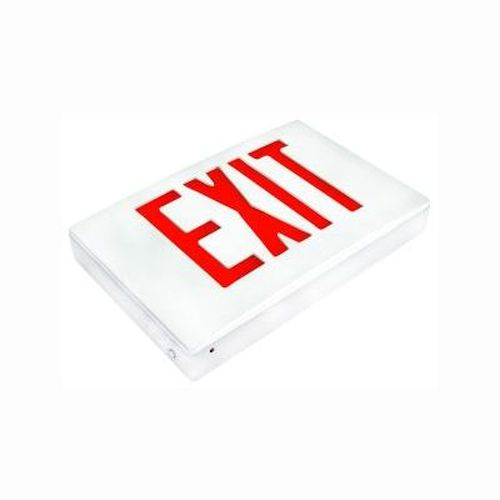 LED Thermoplastic Exit Sign - Red/White Self Testing Battery Backup
