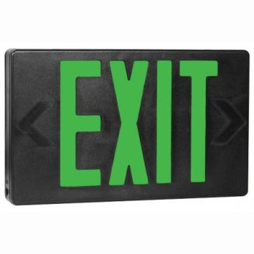 LED Thermoplastic Exit Sign - Green/Black Battery Backup