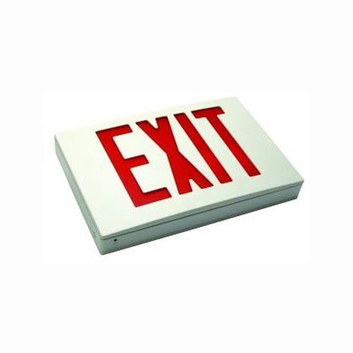 LED Aluminum Exit Sign, NYC Approved, Battery Backup, Single Face Red/White