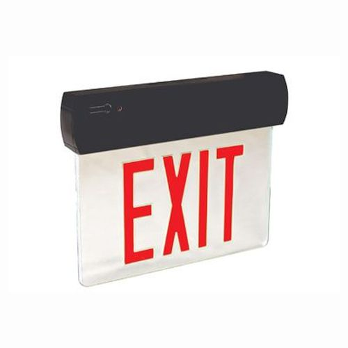LED Thermoplastic Edge Lit Exit Sign - Red Lettering/ Black Housing
