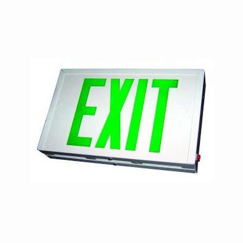 Steel Exit Sign - Green/ White w/ Battery Back-up - Single or Double Face