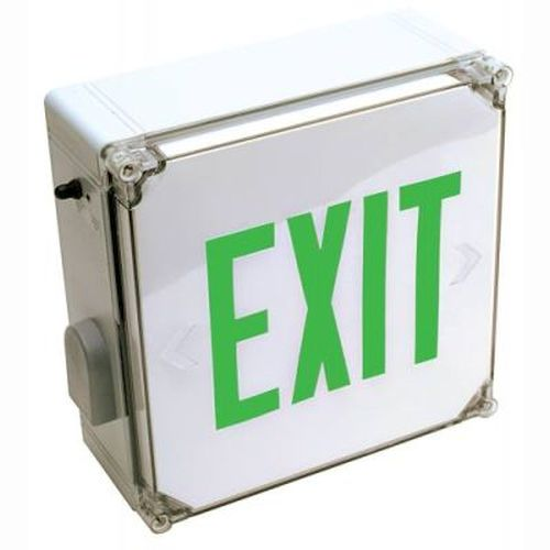 LED Exit Sign - Wet Location - Green - AC