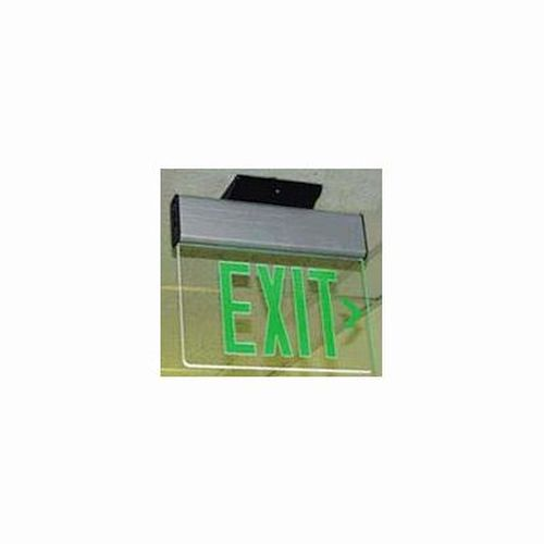 Edge Lit Exit - Green/ Clear - Surface Mount - Single Face
