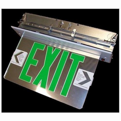 Recessed Edge Lit Exit Signs - Green/ Clear Single Face - SDT