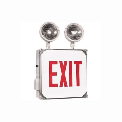 LED Emergency Exit Combo - Red - Wet Location Battery Backup