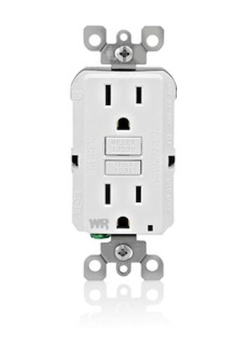 LEVITON - 15 AMP WHITE GFCI NON-TAMPER RESISTANT, WEATHER RESISTANT, Self Testing