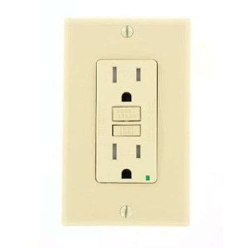 Leviton 15 Amp Ivory Tamper Resistant GFCI w/ Plate