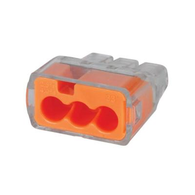 Push In Connector - 500pc 3 Hole/ Orange